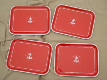 vintage metal tray set, red w/ silver anchor meal trays, nautical style!
