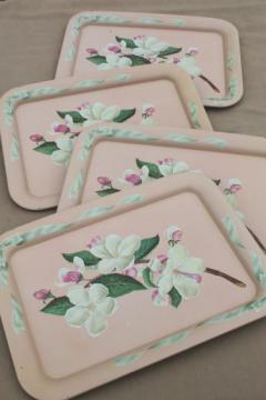 vintage metal trays w/ pink apple blossoms floral, shabby chic cottage style