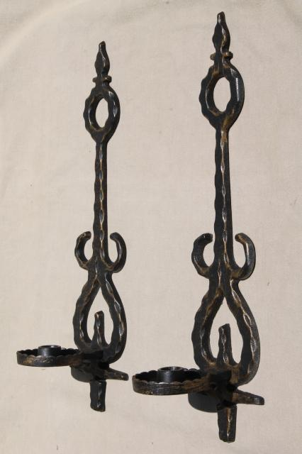 Charmant Vintage Metal Wall Sconce Candle Holders, Spanish Gothic Rustic Black U0026  Gold Candle Sconces