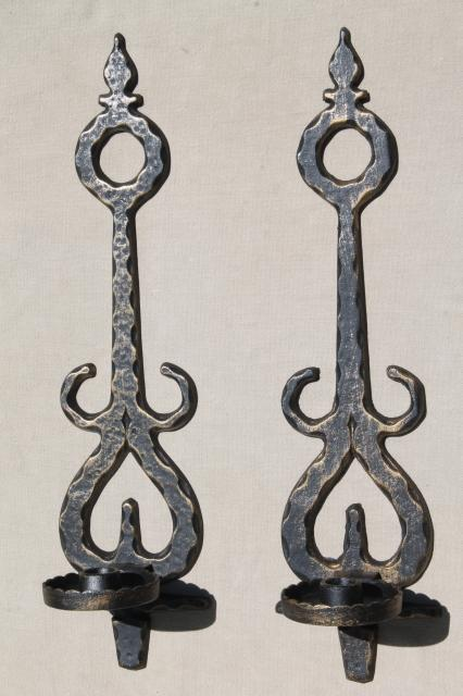 Vintage Metal Wall Sconce Candle Holders, Spanish Gothic Rustic Black U0026  Gold Candle Sconces