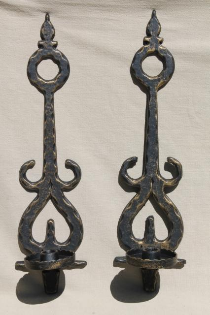 vintage metal wall sconce candle holders spanish gothic rustic black u0026 gold candle sconces