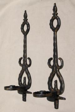 vintage metal wall sconce candle holders, Spanish gothic rustic black & gold candle sconces