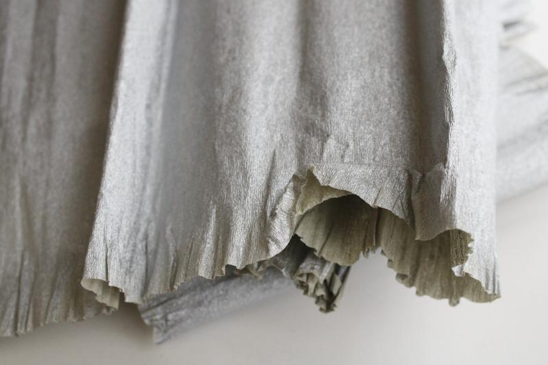 vintage metallic silver crepe paper, craft supply or party streamers wide crimped edge