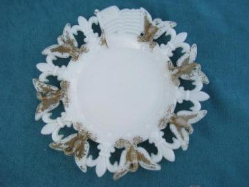 vintage milk glass American flag plate from antique mold, dated 1903