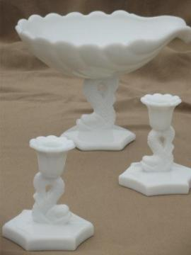 vintage milk glass Westmoreland dolphin & shell compote bowl & candlesticks