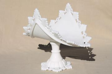 vintage milk glass banana stand fruit bowl pedestal, Westmoreland ring & petal