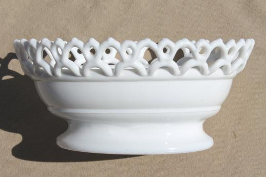 vintage milk glass bowl w/ atterbury lace edge, base for hen on nest or covered dish