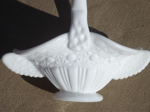 vintage milk glass brides basket, daisy & button pattern glass candy dish