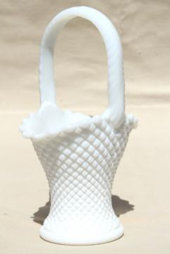 vintage milk glass brides basket flower vase, Westmoreland English hobnail