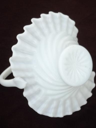 vintage milk glass bride's basket, hand blown art glass basket flower vase