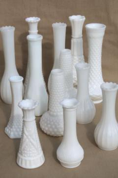 vintage milk glass bud vases, huge lot of florists vases for wedding flowers, displays
