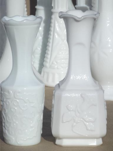 Vintage Milk Glass Bud Vases Huge Lot Of Florists Vases