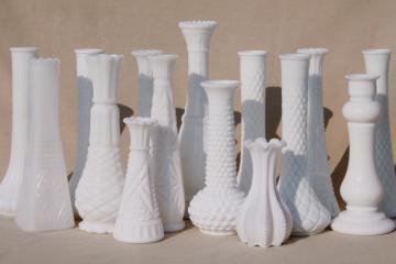 vintage milk glass bud vases, huge lot of florists vases for wedding flowers, displays