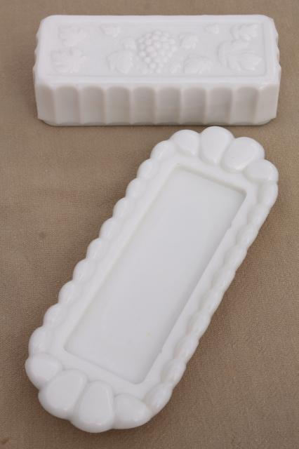vintage milk glass butter dish Westmoreland paneled grape stick butter plate & cover