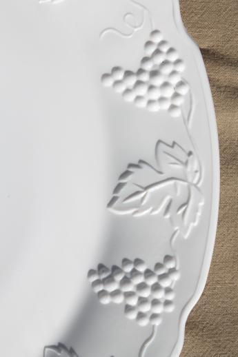 Grapes Pattern Milk Glass Cake Plate
