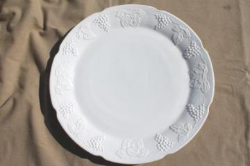 vintage milk glass cake plate or platter, Indiana harvest grapes pattern glass