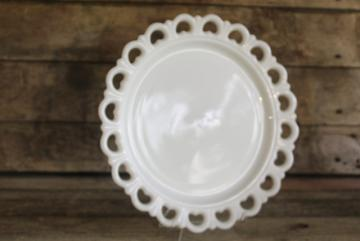 vintage milk glass cake plate or serving tray, Anchor Hocking open lace edge