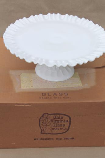Vintage Milk Glass Cake Stand Fenton Olde Virginia