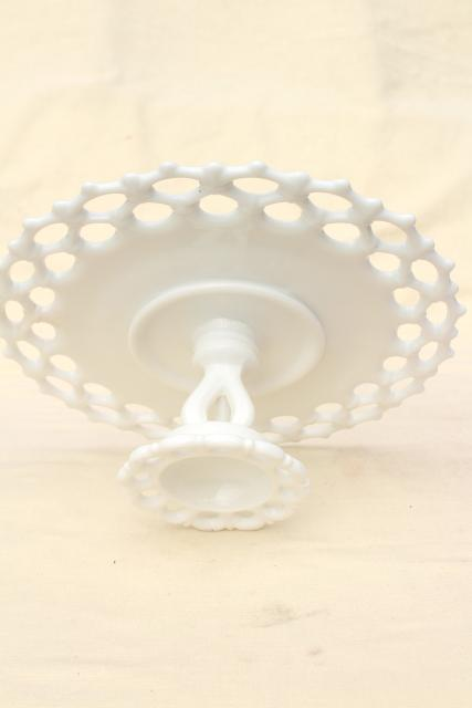 vintage milk glass cake stand, Westmoreland Doric open lace edge pattern