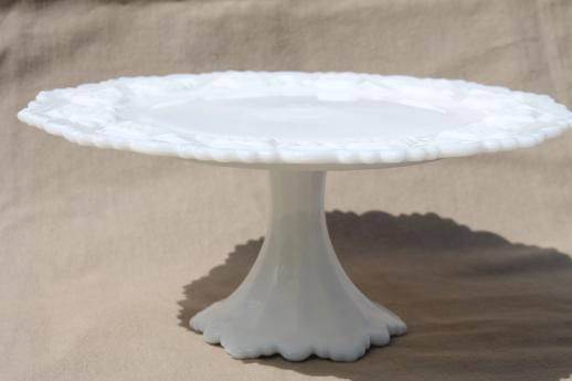 Vintage Milk Glass Cake Stand, Westmoreland Old Quilt Bell Footed Pedestal  Plate