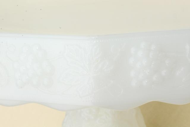 vintage milk glass cake stand w/ grapes, Anchor Hocking grape pattern