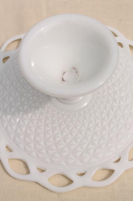 vintage milk glass cake stand, open lace edge pattern cake pedestal plate