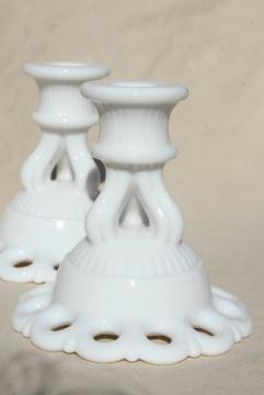 vintage milk glass candle holders, pair Westmoreland Doric open lace edge candlesticks
