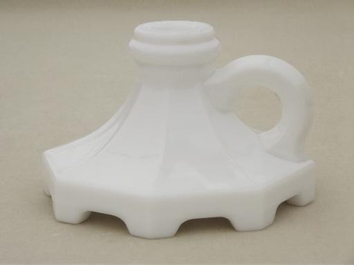 vintage milk glass candlestick lamps, finger ring candle stick lamp bases