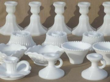 vintage milk glass candlesticks lot, low candle holders tall candlesticks
