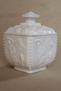 vintage milk glass candy dish, square box w/ lid, Westmoreland beaded grape