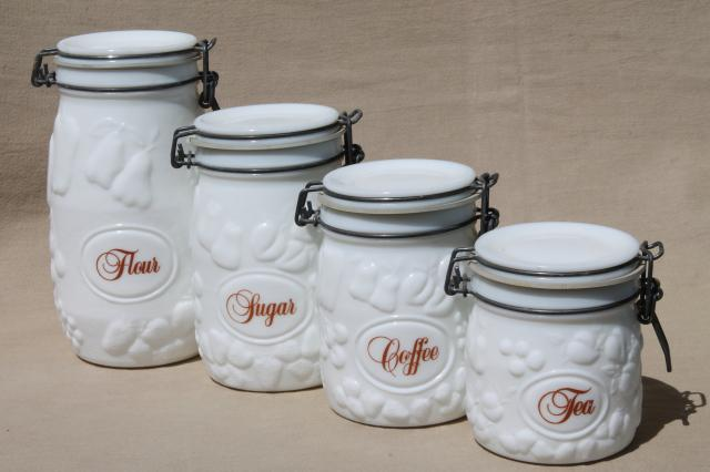 Vintage Milk Glass Canister Set, Wheaton Country Orchard Kitchen Canister  Jars