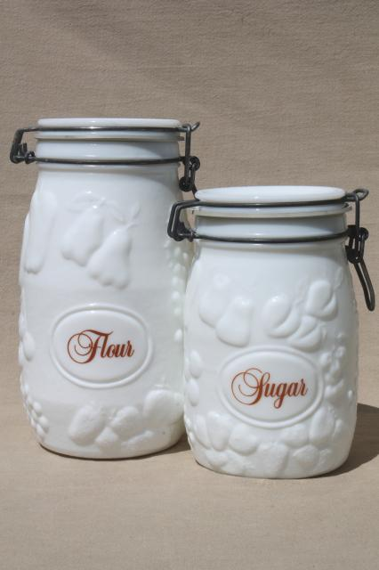 Vintage Milk Glass Canister Set Wheaton Country Orchard