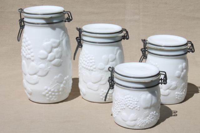 Bon Vintage Milk Glass Canister Set, Wheaton Country Orchard Kitchen Canister  Jars