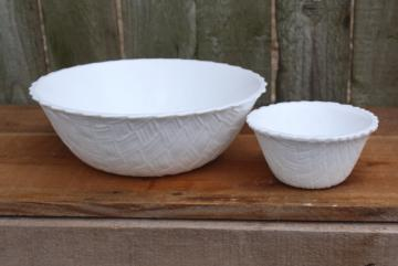 vintage milk glass chip & dip bowls, basketweave pattern Indiana glassware