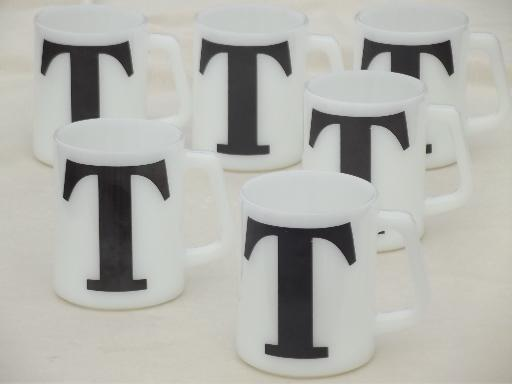 vintage milk glass coffee mugs, letter T monogram initial in chalkboard black