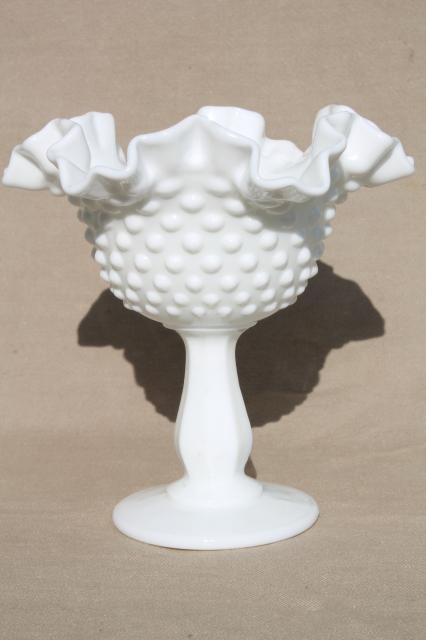 Vintage Milk Glass Collection Fenton Hobnail Pattern Lot Of Vases Candle Holders Dishes