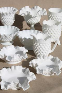 vintage milk glass collection Fenton hobnail pattern, lot of vases, candle holders, dishes