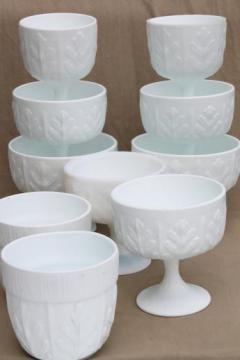 vintage milk glass, collection of oak leaf pattern glass compotes & planters