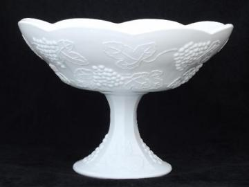 vintage milk glass compote bowl, Indiana harvest grapes pattern milk glass