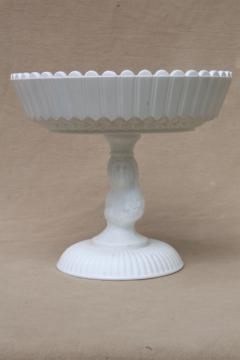 vintage milk glass compote bowl in Actress / Jenny Lind pattern, antique reproduction pressed glass