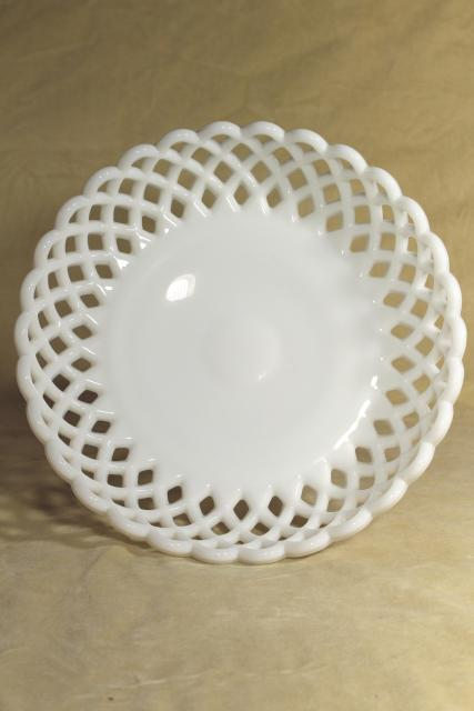 vintage milk glass compote bowl, lace edge daisy & button pattern pedestal dish