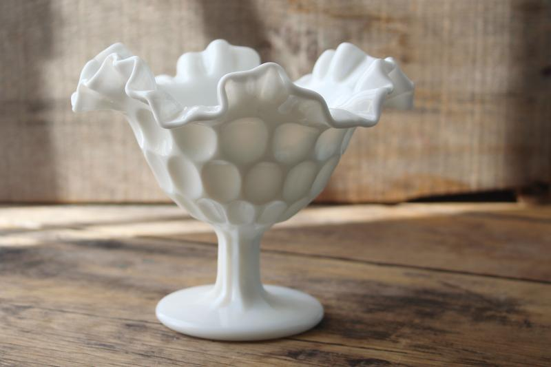 vintage milk glass compote or candy dish, Fenton thumbprint pattern glass