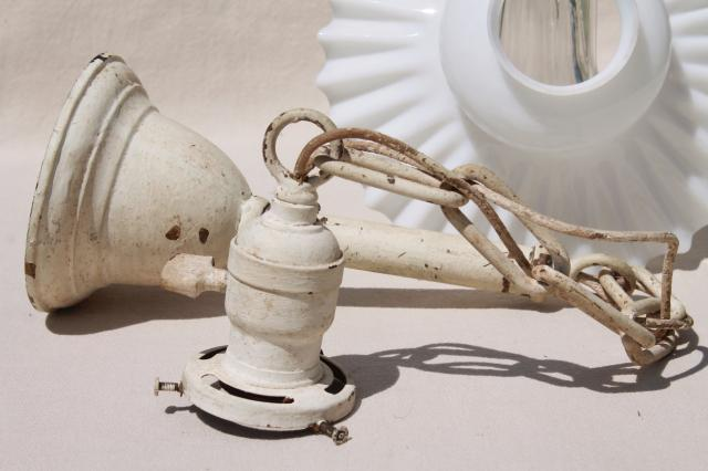 vintage milk glass crimped flat exposed bulb shade, antique brass pendant light w/ shabby paint
