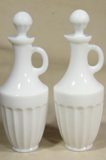 vintage milk glass cruets, collection pressed pattern glass cruet bottles
