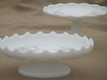 vintage milk glass cupcake stands or tiny cake plates, for candles or displays