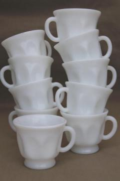 vintage milk glass cups, punch bowl cups or teacups for snack sets