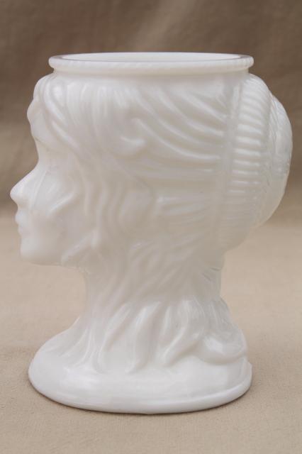 Vintage Milk Glass Figural Vase Lady Head Vase Bust Jenny Lind