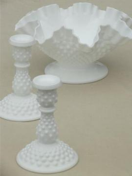 vintage milk glass flower bowl & candle sticks, Fenton hobnail milk glass