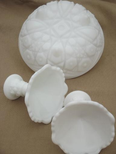 vintage milk glass flower bowl & candlesticks, old quilt star pattern