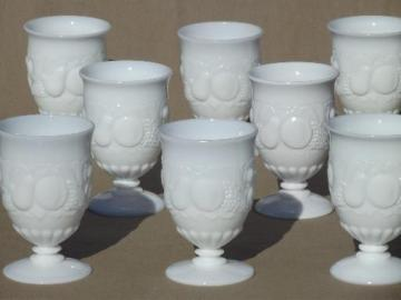 vintage milk glass footed tumblers, Della Robbia fruit Westmoreland glasses